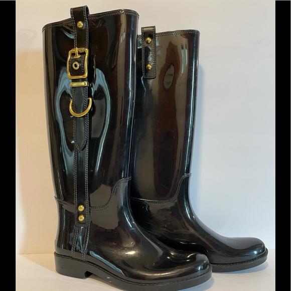 Coach patent leather rain boots sz 7
